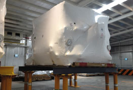 Crago shrinkwrapped in storage CEA Project Logistics