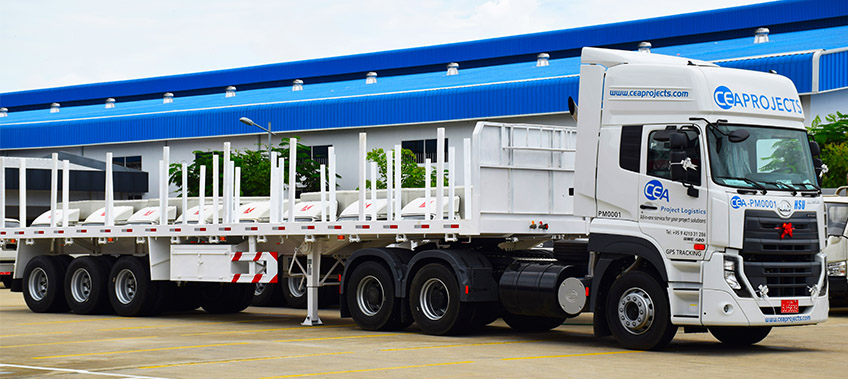 CEA Project Logistics Myanmar - UD Quester Prime Mover with trailer attached