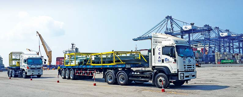 Two trucks from CEA fleet at Laem chabang port