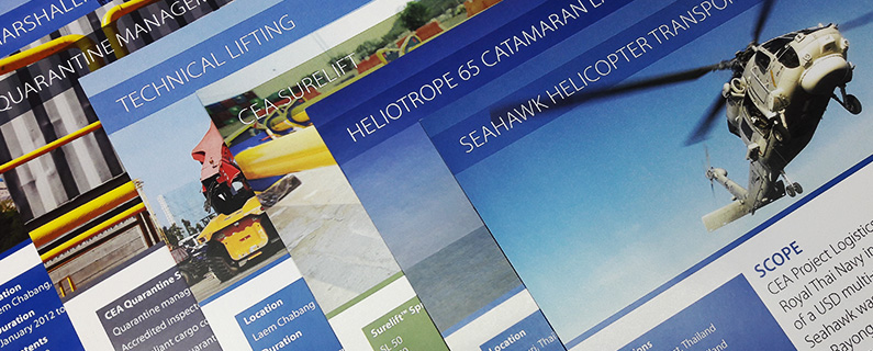 photo of several printed CEA Project Logistics Case studies