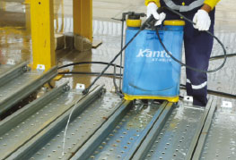 Cargo being cleaned with spray - CEA Project Logistics