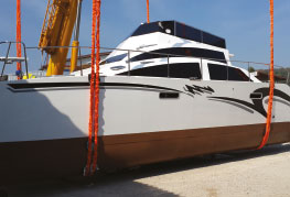 Dual Penetrator Catamaran Transportation & Launch - CEA Project Logistics - Catamaran in slings