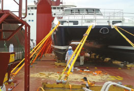 Dive Boat calypso lashed and secured on deck