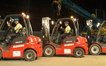 CEA Project Logistics myanmar forklift fleet on display