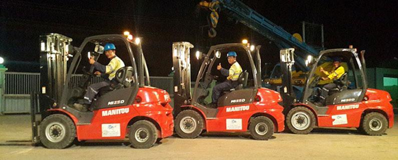 CEA Project Logistics myanmar forklift fleet on display