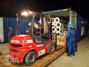 CEA Myanmar forklift unloading container