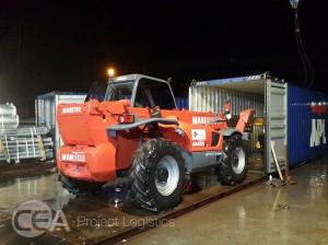 CEA Project Logistics Myanmar Telehandler unloading a container