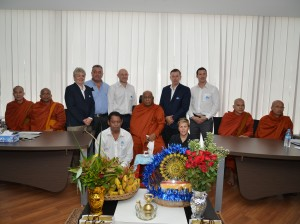CEA Project Logistics Myanmar office Monks Blessing staff and monks photo