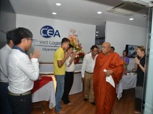 CEA Project Logistics Myanmar office Monks Blessing