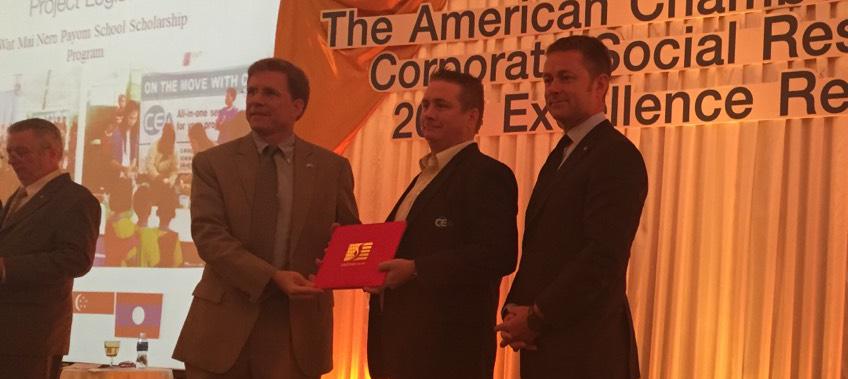 CEA staff receive CSR award on stage