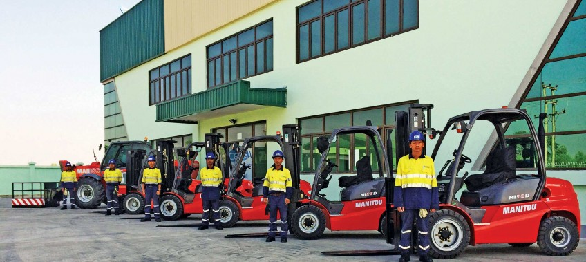 Forklifts lined up outside CEA Project Logistics Myanmar thilawa warehouse
