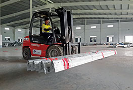 Red forklift working in CEA Project Logistics Myanmar warehouse