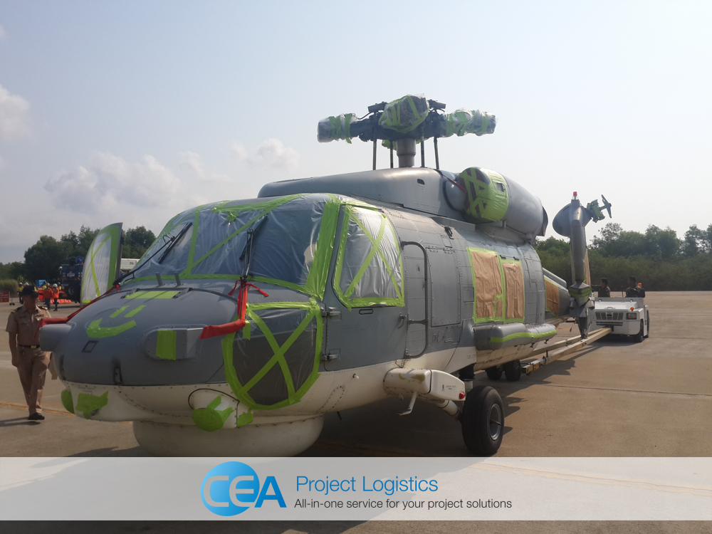Seahawk helicopter with blades removed ready for transportation by cea project logisitcs