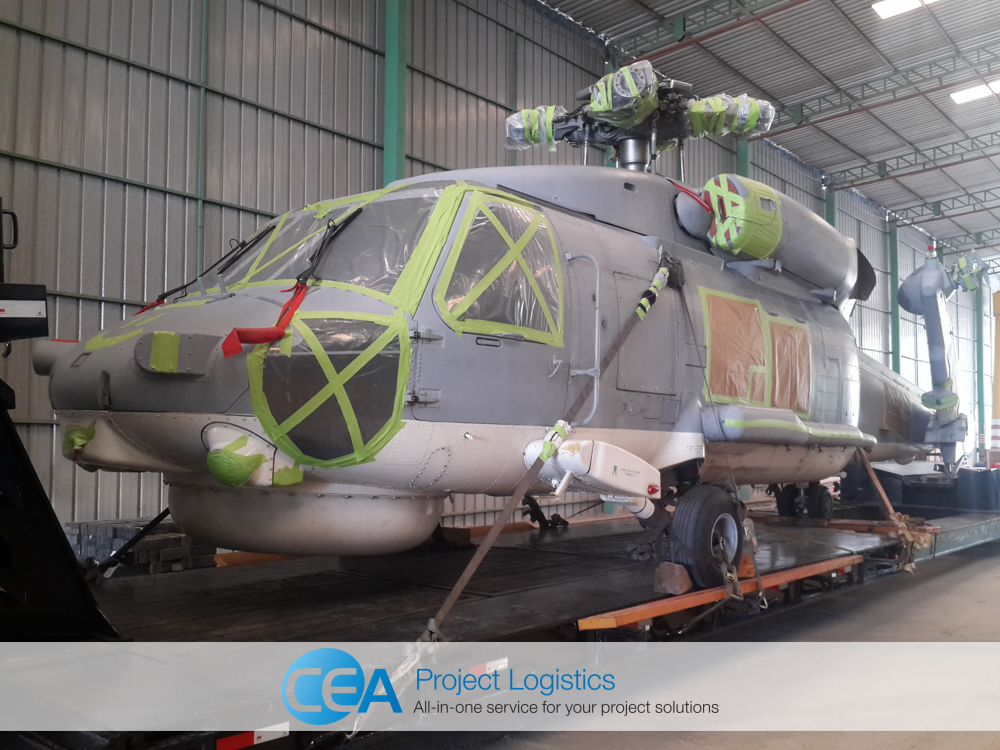Seahawk helicopter in storage at the CEA facility