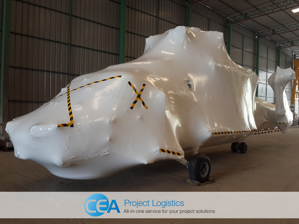 Seahawk helicopter covered in protective shrink wrap