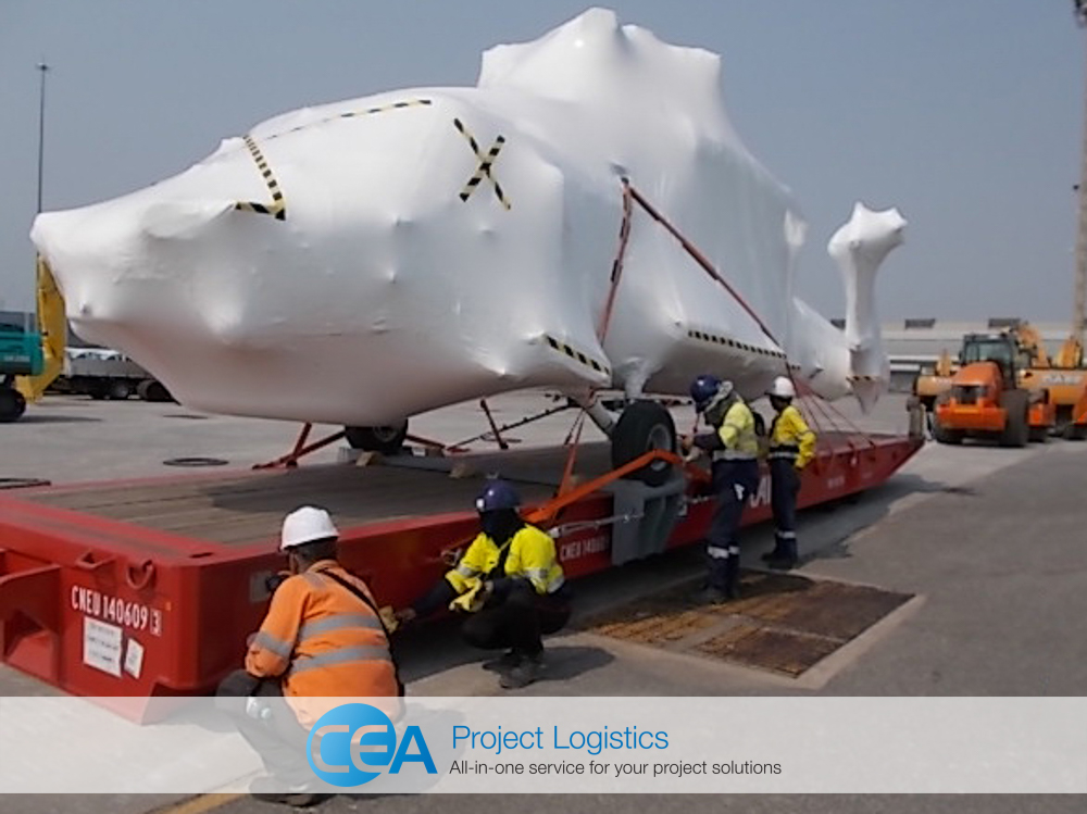 Seahawk helicopter in shrinkwrap arrives at Laem Chabang port