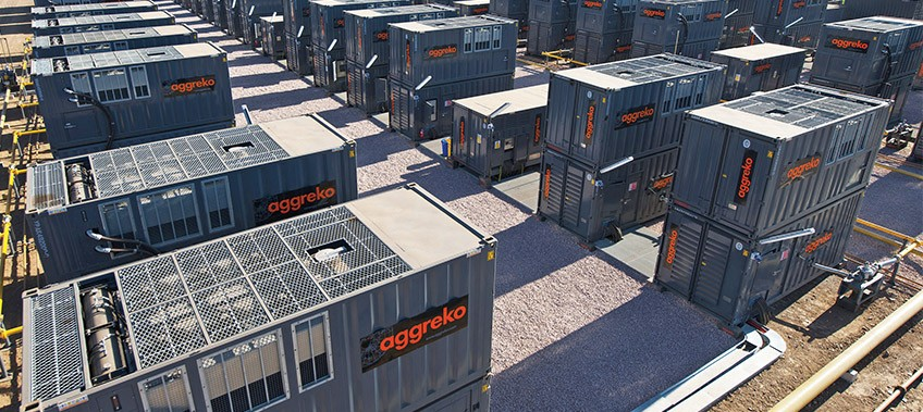 Aggreko generator units stacked and in operation CEA Myanmar