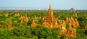Aerial view of temples in Myanmar