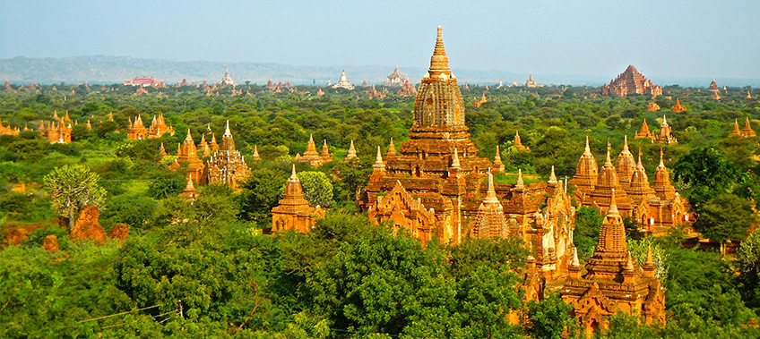 Aerial view of temples in Myanmar