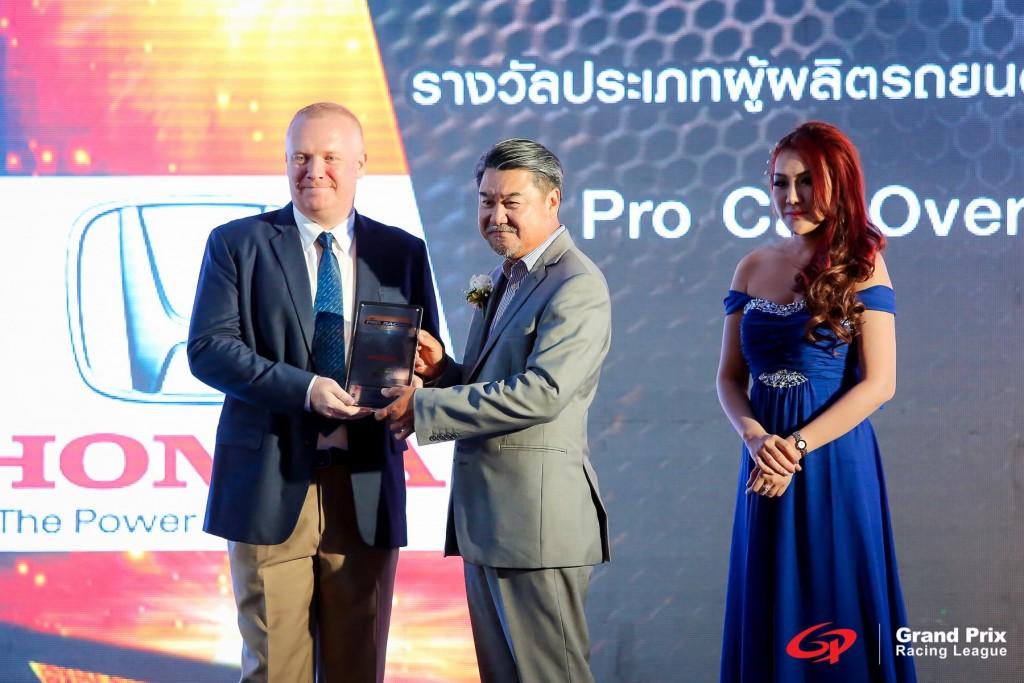 Earl Brown of TR Motorsport receiving Honda Trophy