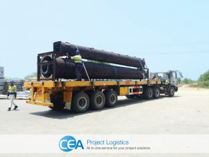 monopoles secured on trailer ready for transportation