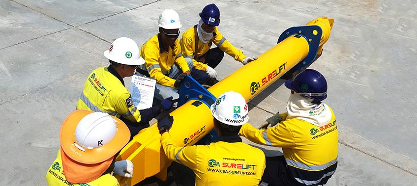 CEA Surelift Spreader Beam training in the yard
