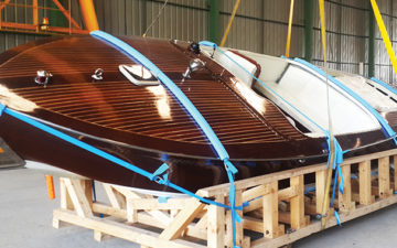 CEA Project Logistics - Packing and crating services - Speedboat lashed on wooden cradle by CEA