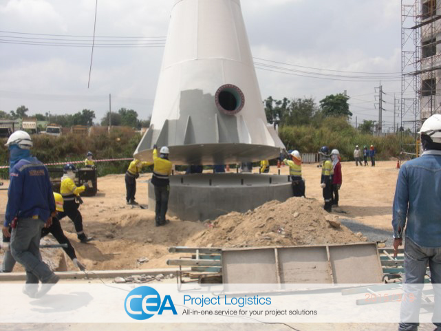 Tower base being secured to its base