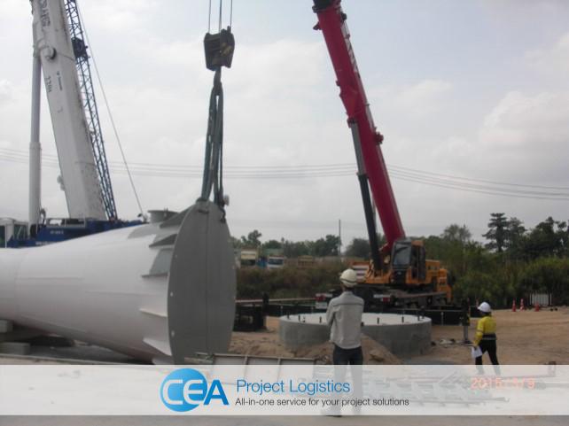 Crane begins lift of tower
