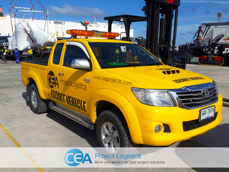 CEA Project Logistics Escort Vehicle on port