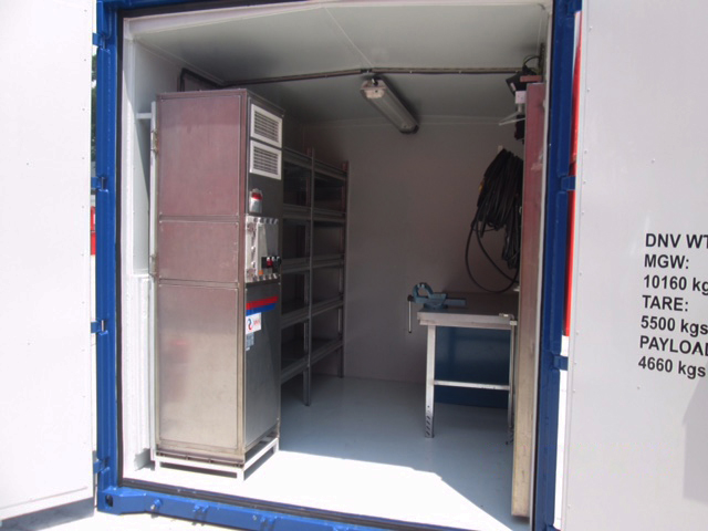 View of inside swire offshore workshop containers