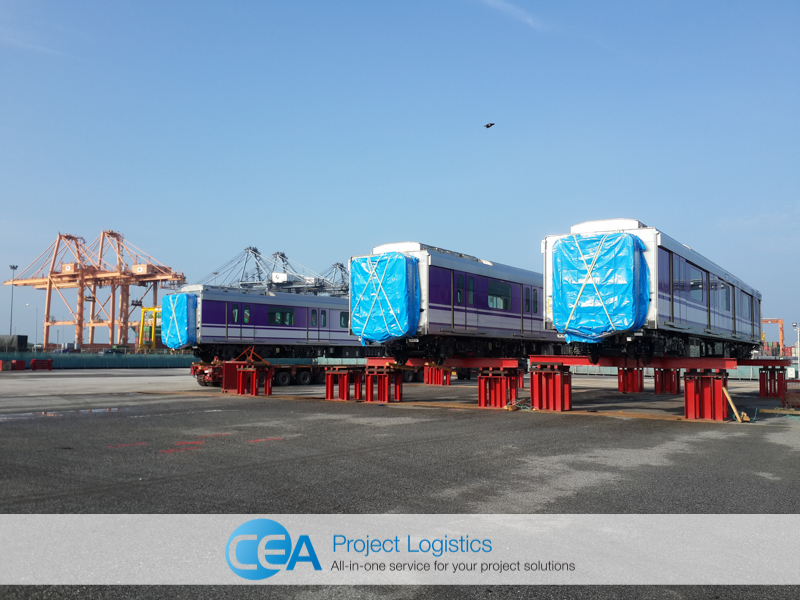 Train carriages in storage at CEA Free Trade zone