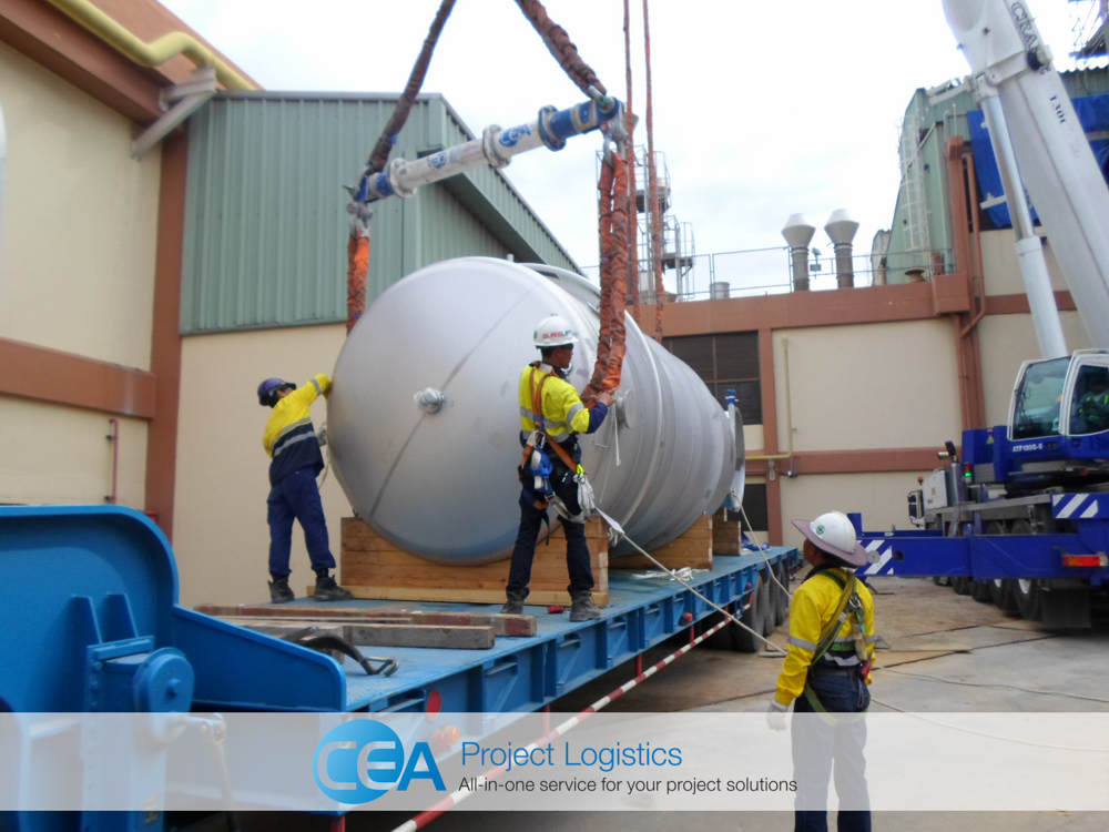 Slings being attached to cargo