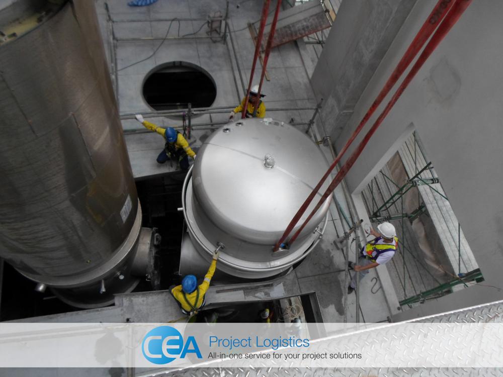 lowering evaporator through the building