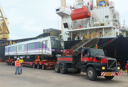 CEA purple line transportation project - first train carriage leaves port