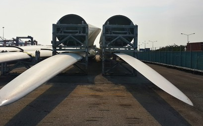 Wind Turbine blades in storage at CEA Free Trade Zone