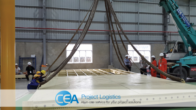Slings attached to steel floor structure - CEA Project Logistics Myanmar - Bottle Plant Installation