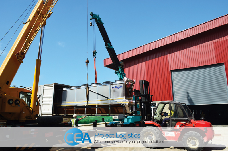 unloading from container CEA Project Logistics Myanmar - Bottle Plant Installation