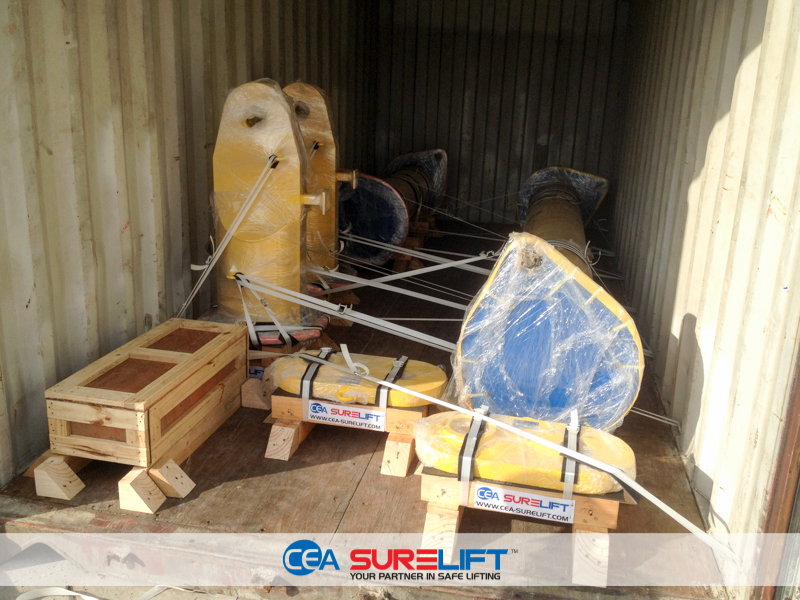 CEA Surelift Spreader Beams packed in a container