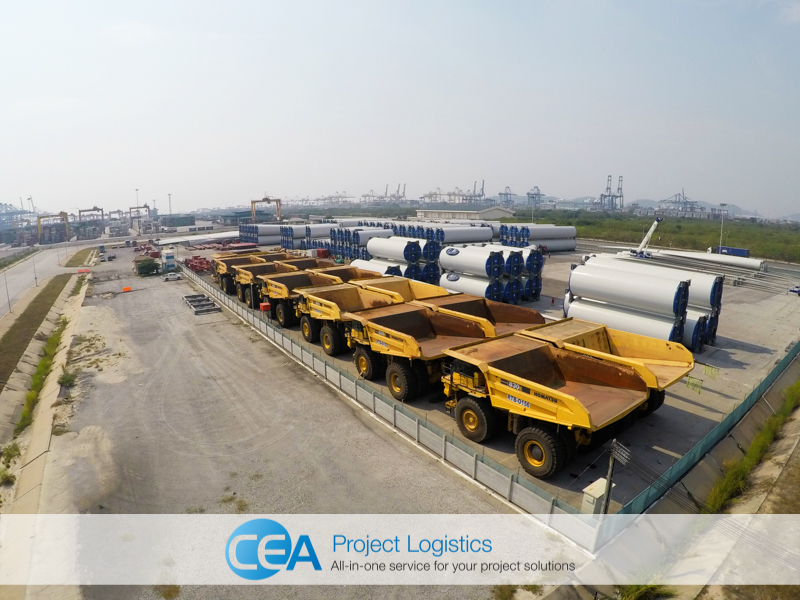 Aerial shot of Komatsu Truck in Storage at CEA Project Logistics Free Trade Zone