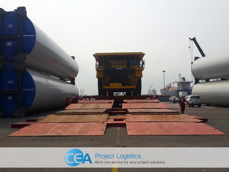 shot of Komatsu Truck on SPMT unloading at the CEA Project Logistics Free Trade Zone