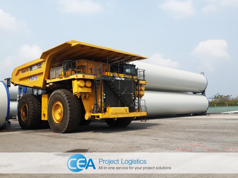shot of Komatsu Truck unloading at the CEA Project Logistics Free Trade Zone