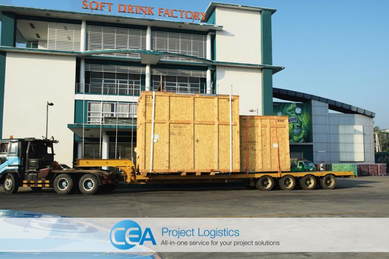 Bottle blower cargo arrives outside factory CEA Project Logistics Myanmar
