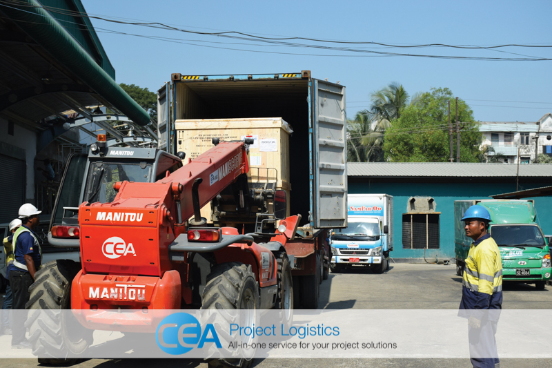unloading cargo at the factory CEA Project Logistics Myanmar