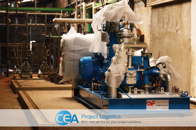 Bottle blower parts moved into place CEA Project Logistics Myanmar