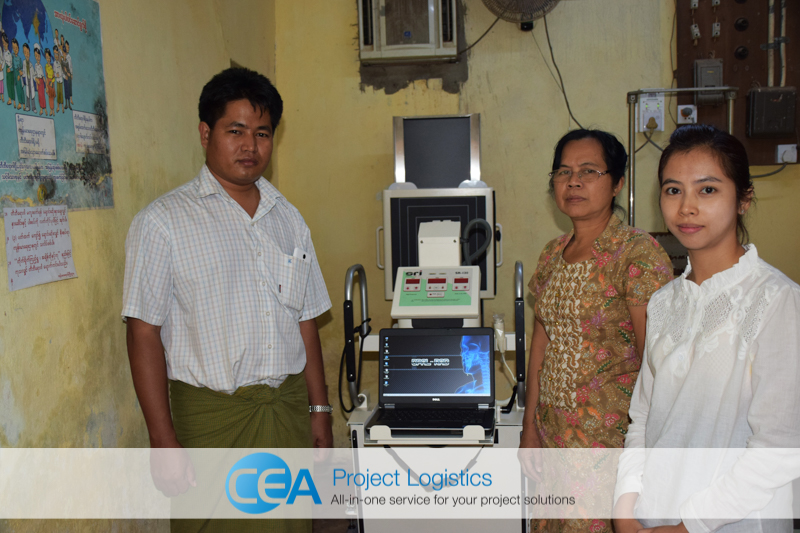 X-ray machine assembled and ready for use CEA Project Logistics Myanmar