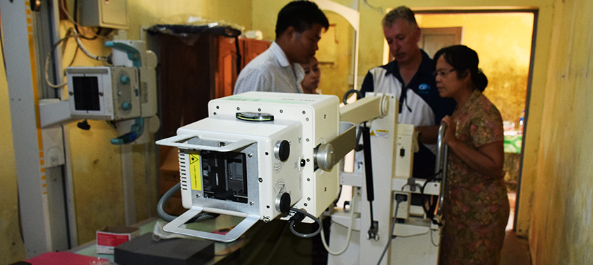 x-ray machine being assembled Bottle blower inside factory CEA Project Logistics Myanmar
