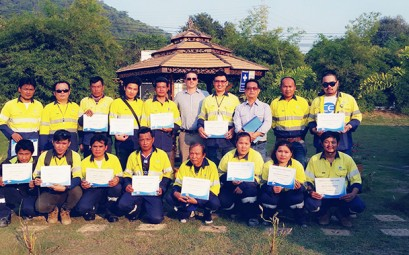 CEA Project Logistics Staff pose for photo with the certificates