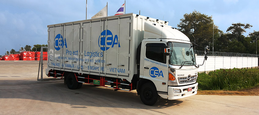 CEA Hino 500 truck leaves the yard - CEA Project Logistics Songkhla