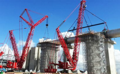 Fagioli Cranes working in tandem on a project - CEA Project Logistics